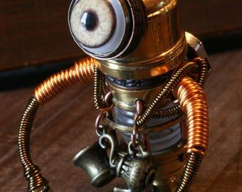 Steampunk Minion Robot Sculpture with teacup and tea pot