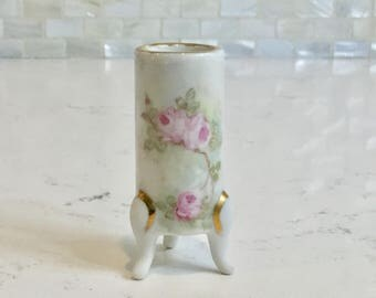 Hand Painted Pink Rose Toothpick Holder Footed HP