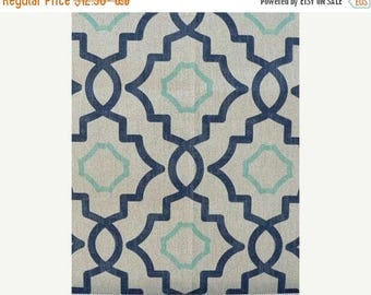 ON SALE MEDALLION Table Runner or Napkins or Placemats Blue, aqua and white 100% cotton Wedding Bridal Home Decor