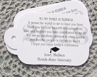 Graduation Favors - Graduation Party - Graduation Favor Tag - Favor Tags - High School Grad - College Grad - Grad Favors