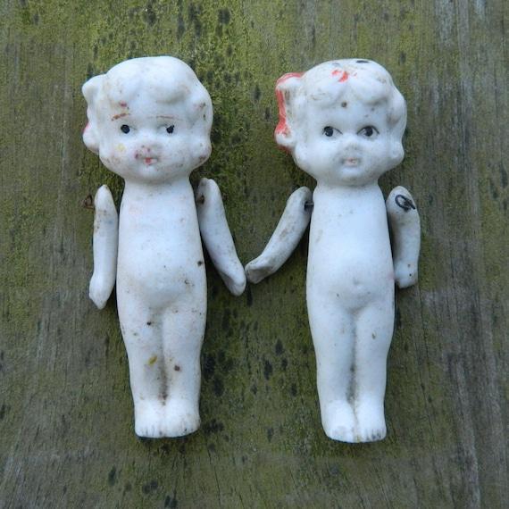 "Pair of Vintage Bisque Dolls 3"""