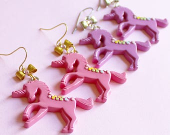 Pastel Unicorn Earrings Pink Rainbow Unicorn Earrings Kawaii Pony Pendant Kawaii Jewelry Rainbow Jewelry