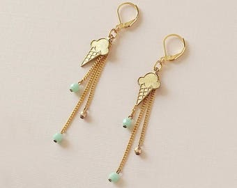 Ice Cream Cone Earrings with Tassels - Gold and Mint Earrings - Tassel Earrings - Summer Treat Earrings (SD1273)