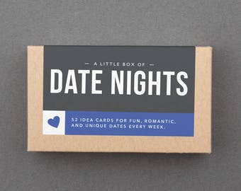 "Date Night Jar. 52 Fun Date Night Ideas, Date Night Cards, Date Night Box. Engagement, Bridal Shower, Wedding Gift. ""Date Nights"" (L5DAT)"