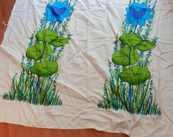 Vintage fabric panel, pillowcase panel, lillypad print