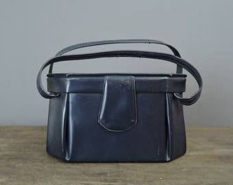 Vintage Navy Box Purse, Small Blue Vinyl 1950s 1960s, as is