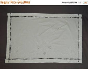 20% Sale - Antique 1900s Linens 2 Daytime Pillow Covers, Embroidered White work, Sogni Felici - Happy Dreams,  26x40 inches