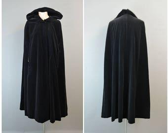 Vintage Black Velvet Cape with Hood, Long 1960s Cloak 34 36 38 inch bust