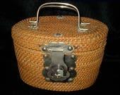 Vintage 50s 60s Chinese Wicker Woven Tea Basket Purse