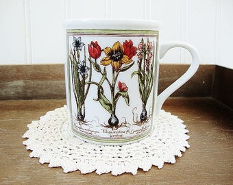 vintage mug botanical garden style dutch bulbs narcissus tulip