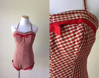 Red Checkered swimsuit | vintage 1940s swimsuit | 40s bathing suit playsuit