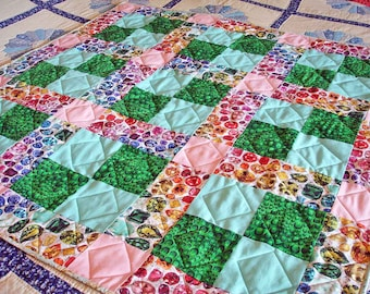 Lap Quilt - Bejeweled - Jewel Quilt, Gift For Dad, Gift For Teen, 9 Patch Quilt
