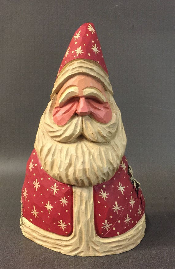 HAND CARVED original stocky Santa from 100 year old Cottonwood Bark.