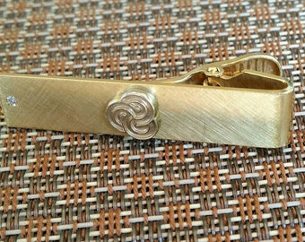Vintage Balfour Tie Clip - Gold Filled - 1/20 12K Gold Filled with Diamond Chip - Trinity Symbol - Borromean Rings
