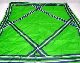 Kreier 100% Cotton Handkerchief Scarf -  Geometric Design in Navy Blue White and Green