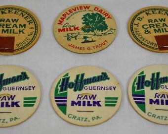 Set of 6 Vintage Maryland Milk Bottle Caps - J. B. Keener, Hoffmans and Mapleview Dairy