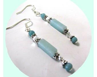 Boho Earrings, Amazonite Earrings, Gemstone Earrings, Beaded Earrings, Light Green Dangle Earrings, Drop Earrings, MInimalist, Bohemian,!268