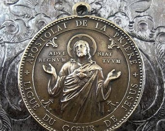 ON SALE Ornate Signed Penin Poncet Vintage Bronze Catholic Religious Medal, Sacred Heart Of Jesus & The Blessed Virgin Mary Immaculate Heart