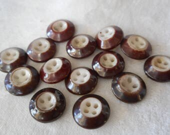 Lot of 14 ANTIQUE Brown Ring Sew Thru China BUTTONS