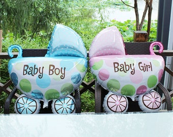 Pink Blue Boy Girl Baby Balloons Stroller inflatable foil Baby Shower Gender Reveal