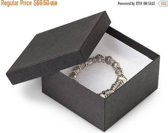 memorial day sale 100 Pack 3.5 X 3.5 X 2 Inch Matte Black Size Cotton Filled Jewelry Presentation Gift Boxes