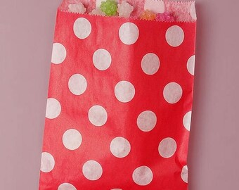 STOREWIDE SALE 25 Pack 5 X 7 Inch Color and White Polka Dot Flat Paper Food Safe Bags