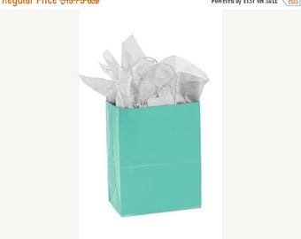 New Years Sale 25 pack Teal Recycled 5.25 x 3.5 x 8.5 inch Paper Handle Bags
