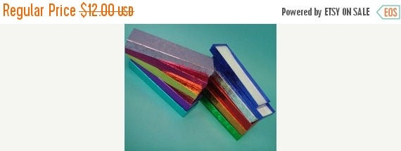 Summer Sale 20 Pack Multi Color Foil Cotton Filled Jewelry Boxes 8X2X1 Inch Size Boxes