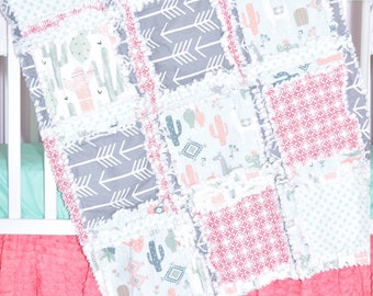 Llama Blanket- Coral/ Gray/ Mint Crib Bedding Cactus Nursery- Southwest Nursery- Boho Nursery- Cacti Nursery- Animal Nursery Baby Girl Quilt