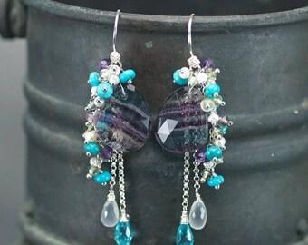 Summer SALE Multi colour Fluorite, Sleeping Beauty Turquoise, Amethyst, Apatite, Moonstone, Pearls chain dangle 925 silver hooks ... IRIDIAN