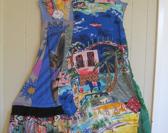 hold for be cat & the fiddle - Patchwork Couture maxi dress - Collage Clothing Wearable Folk Artist Art  - Recycled Fabric Scraps - my Bonny