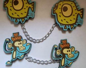 Tiki Tony, Puffer fish, Puffer fish jewelry, Monkey, Monkey jewelry, Monkey sweater clips, Jewelry, Handmade, Tiki, Tiki Oasis, Pinup