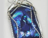 ON SALE Blue  Dichroic Glass  with Sterling Silver Wire Wrap Pendant Necklace