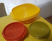 Tupperware Vintage Retro Kitchen 1970's early plastic set of Three Food Storage