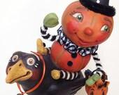 Pumpkin Patty's Fun Flight, EHAG, Hand sculpted OOAK original paper mâché, Halloween, Trick or Treat, pumpkin, crow, artist Alycia Matthews