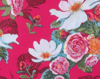 Nel Whatmore PWNW076 Rosealea Cerise Cotton Fabric By Yard