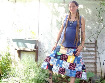 SPACE ~ GRATEFUL DEAD ~ ecofriendly gypsy patchwork hippie spinners skirt with lightning bolt applique