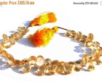 50% Off Sale Full 7.5 Inches - Finest Quality Genuine Citrine Faceted Pear Shaped Briolettes Size 9x6 - 10x6mm Approx