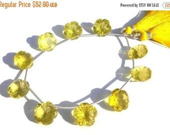 50% Off Sale Super Finest AAA Lemon Quartz Concave Cut Flower Shaped Fancy Briolette 10Pcs 5 Matched pair
