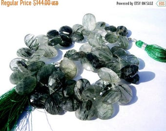 50% Off Sale Full 8 Inches - Finest Quality Greenish Black Rutilated Quartz Faceted Pear Briolettes Size 13x10 - 15x11mm Natural Stone Whole