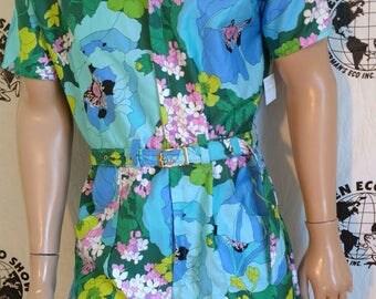 Mens Romper shorts  42 L  flower power  hipster Anna Herman USA jumpsuit cotton