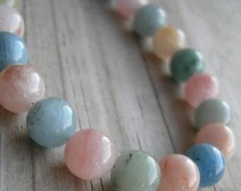Aquamarine Morganite Beaded Choker Beryl Necklace