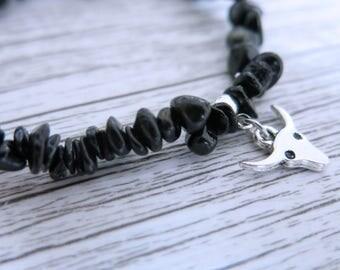 Black Tourmaline Bracelet Black Tourmaline Gemstone Bracelet Black Tourmaline Crystal Chip Choose Your Own Charm Bracelet