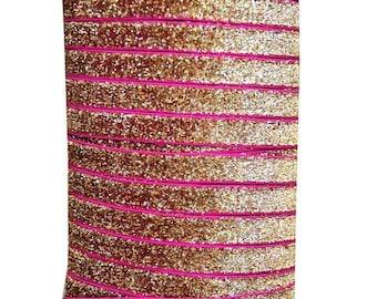 20% OFF EXP 06/30 3/8 Glitter Stretch Velvet Elastic 5 YARDS - No Flake - Bali Gold Pink