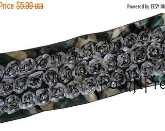 20% OFF EXP 06/30 3 inches Green Camouflage Camo Scalloped Roses 3D rosette ribbon. Sale for Two Yards.