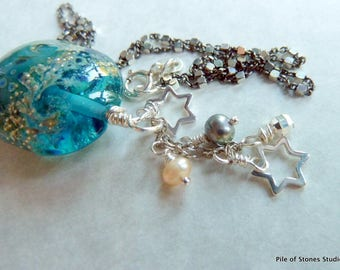Neptune's Sea Necklace Ocean Inspired Jewelry Artisan Lampwork Jewelry Beach Wave Pendant Necklace Teal Blue and Silver Necklace Sea Jewelry