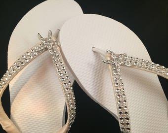 Angela Bridal Flip Flops Custom Starfish Wedding Dancing Shoes