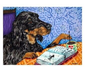 20 % off storewide Gordon Setter at the Coffee Shop Dog Art Print 11x14 JSCHMETZ modern abstract folk pop art american ART