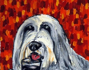 20% off storewide Bearded Collie at the Wine Bar picture Dog Art Print  giclee gift