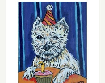 20% off West Highland White Terrier Birthday Dog Art Print